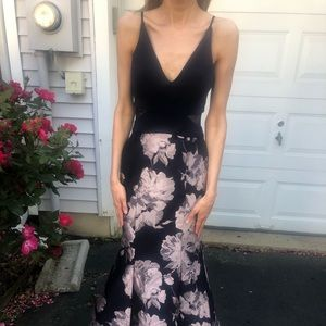 Xscape Dresses - Navy gown with mermaid bottom and floral design
